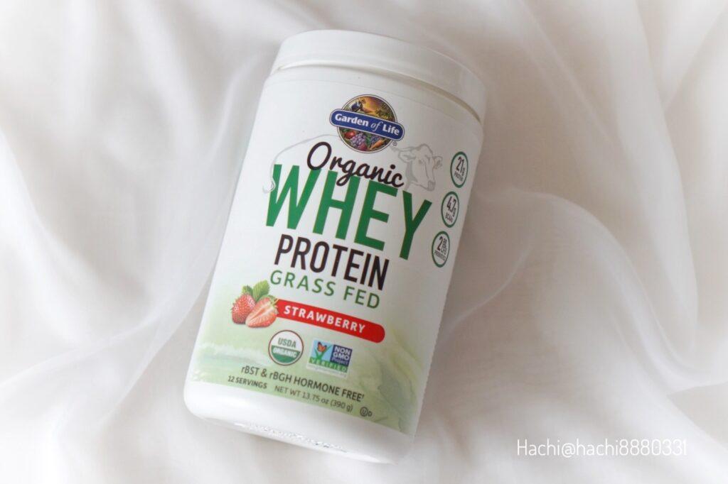 ガーデンオブライフのオーガニックホエイタンパク質プロテイン、グラスフェッド(牧草飼育)ストロベリー風味、390g