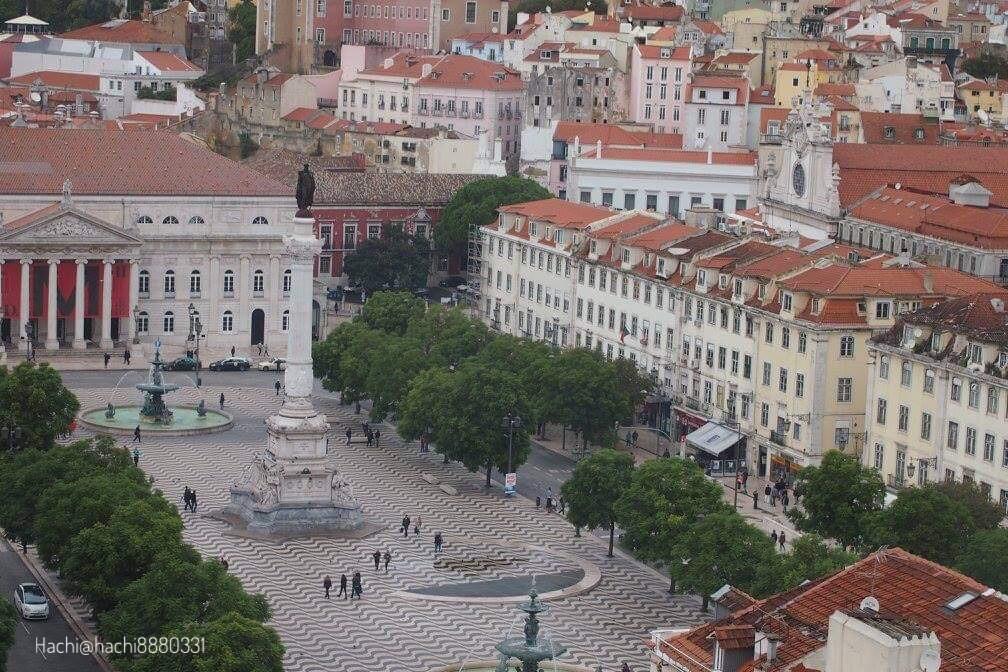 サンタジュスタのエレベーター(Elevador de Santa Justa)から見えるロシオ広場