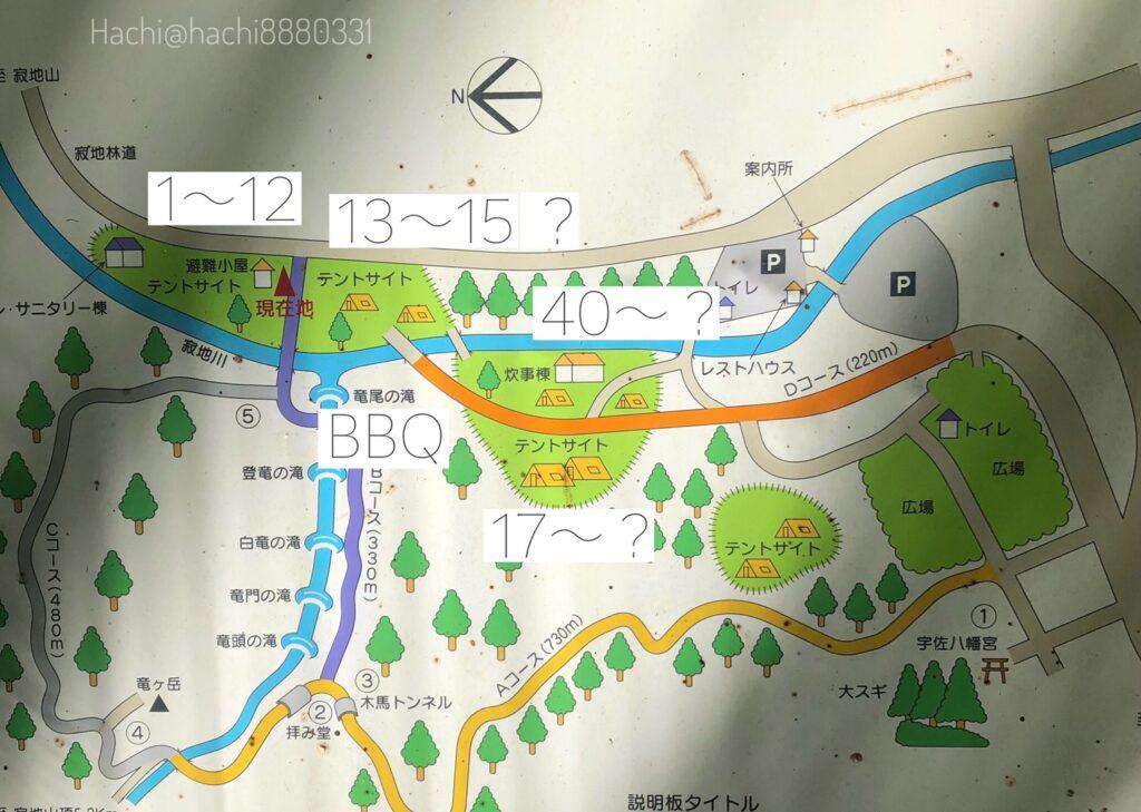 寂地峡キャンプ場の地図 テントサイト見取り図